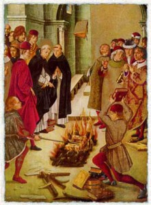 Эта работа Педро Берругете XV в. иллюстрирует легенду о святом Доминике и альбигойцев, в которой сочинения Доминика и катаров по очереди бросали в огонь. Пламя пощадило только тексты Доминика