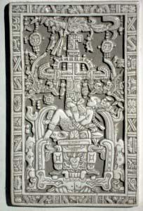 изображение на плите, закрывающей саркофаг Пакаля